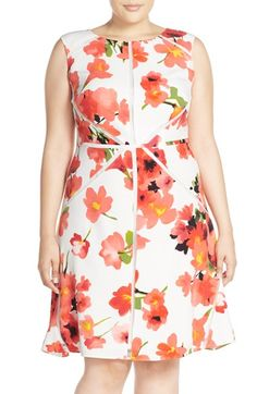 Adrianna Papell Mesh Inset Floral Print Fit & Flare Dress (Plus Size)