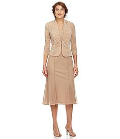 Alex Evenings Woman TeaLength Printed Jacket Dress #Dillards