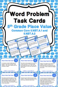 This set of place value task cards gives you 24 different word problems for your 5th grade students to practice Common Core standards 5.NBT.A.1 and 5.NBT.A.2. You can use these in math centers, in small groups, in whole class games, and more... the possibilities are endless!