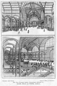 archimaps: The main concourse inside Pennsylvania Station, New York City Architecture Mapping, City Architecture, Futuristic Architecture, Historical Architecture, New York City Buildings, Station To Station, Background Drawing, Train Pictures, Vintage New York