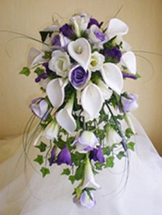 Wedding, Flowers, White, Bouquet, Purple, Bridal, Roses, Calla