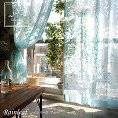【 greenery -グリーナリー-】オパールプリントで透明感が美しいレースカーテン <レインリーフ ブルー> House Design, Windows, Interior Ideas, Bedroom Ideas, Home Decor, Embroidery, Veils, Curtains, Homemade Home Decor