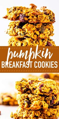 Pumpkin breakfast cookies are a simple way to add autumn glow to your meal prep. Stock your freezer with them this fall! They are so easy to make ahead and then just grab and go for lunch boxes, work, or school. A healthy way to snack or start the day. Pumpkin Breakfast Cookies, Breakfast Cookie Recipe, Healthy Cookies, Healthy Snacks, Eating Healthy, Pumpkin Recipes, Fall Recipes, Make Ahead Brunch Recipes, Healthy Breakfast Smoothies