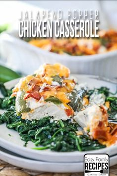 Easy Cream Cheese Jalapeno Popper Chicken Dinner- My Family LOVES this recipe! Chicken Casserole, Casserole Dishes, Casserole Recipes, Keto Casserole, Easy Family Meals, Quick Meals, Family Recipes, Xmas Recipes, Diet Recipes