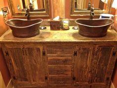 salle de bain champêtre | Salle de bains rustique avec des accessoires en bois