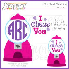 Valentine Clipart Monogram Clipart Gumball by SanqunettiDesigns Valentines Day Clipart, Gumball Machine, Machine Design, Vinyl Projects, Planner Stickers, Paper Crafts, Clip Art, Messages, Lettering