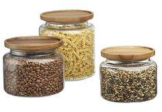 montana acacia and glass jars | crate and barrel