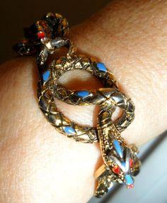 vtg Bracelet ART ® Snakes w RED Eyes & Tongue BLUE Enamel Accents PRIORITY MAIL #ART #EgyptianSnakeArtDecoVintageBoho