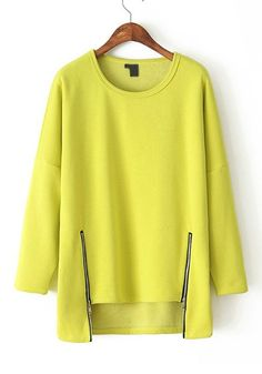 love the hemline - Yellow Plain Zipper Irregular Round Neck Flocking T-Shirt