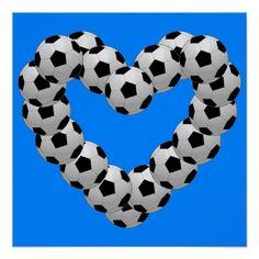 Heart of Soccer Ball Euro Futbol Heart Poster - Saint Valentine's Day gift idea couple love girlfriend boyfriend design