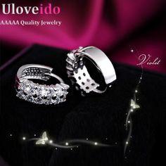 15% venta off hombres pendiente de aretes de cristal de joyería de plata de las mujeres pendientes accesorios de la boda del perno prisionero nuevo 2017 uloveido y043