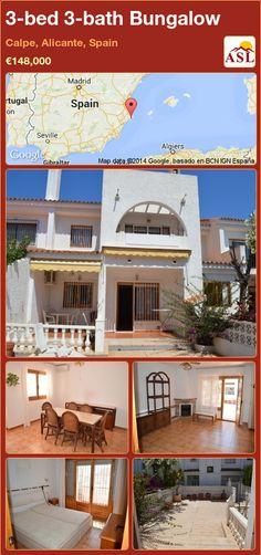 3-bed 3-bath Bungalow in Calpe, Alicante, Spain ►€148,000 #PropertyForSaleInSpain