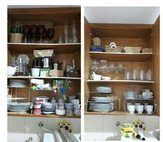 Antes e depois de organizar louças e afins