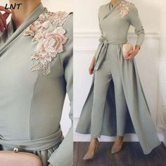 Long Sleeves Grey Jumpsuit with Removable Skirt Women Fashion Clothing Evening Gowns Formal Wear Dress Long Party vestidos de g _ {categoryName} – AliExpress Mobile Version – – Hijab Fashion 2020 Muslim Evening Dresses, Hijab Evening Dress, Hijab Dress Party, Evening Gowns, Prom Dresses, Chiffon Evening Dresses, Modern Hijab Fashion, Look Fashion, Fashion Beauty