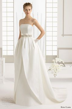 rosa clara 2016 bridal collection strapless straight across neckline white wedding ball gown with pockets dakar