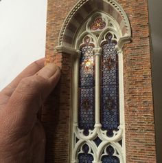 See How a Brooklyn Artist is Creating a Miniature Scale-Model of a Gothic Cathedral from Scratch,Window. Image Courtesy of Ryan McAmis Miniature Rooms, Miniature Houses, Leaded Glass, Stained Glass Windows, Chateau Fort Jouet, Gothic Windows, Gothic Cathedral, Cathedral Windows, Brickwork