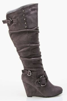 Comfortable Wedge Heel Suede Three Buckle Knee High Boots