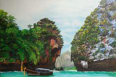 Yolima Venegas ORIGINAL Técnica óleo con espátula, paisaje de Tailandia, medidas aprox. 120 x 80 (pintura original, inspirada en fotografía)