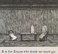 Edward Gorey illustration Y IS FOR YORICK Gashlycrumb Tinies macabre art print