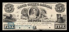 Canada, Bank of Upper Canada (York), 5 dollars : January 1851 History Posters, Canadian Coins, Old Coins, Stamps, January, Museum, Collections, Canada, Notes
