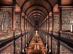 The Long Room at Trinity College Library in Dublin, Ireland