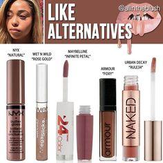 Kylie Jenner lip gloss dupes for Like Kylie Jenner Lipstick, Make Up Kylie Jenner, Kylie Lip Kit Dupe, Jenner Makeup, Kylie Dupes, Kylie Makeup, Dupes Nyx, Lipstick Dupes, Lipsticks