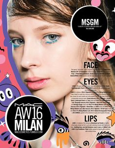 M·A·C Backstage at MSGM AW16 MFW. Get this eccentric mascara look with Pigment in Hi-Def Cyan!