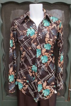 Vintage 1970s H Bar C Polyester Western Shirt Pearl Snap Cowboy Disco Shirt sz 14 1/2-33 XL Tail by delilahsdeluxe, $34.50