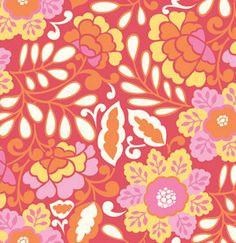 TAZA Fabric Little Navina Red Flowers Floral Vines Dena