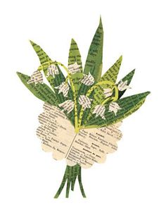 """Lily of the valley"", handmade paste piece collage by Denise Fiedler"
