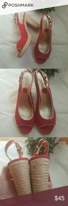 "Tahari 'Barb' Peep Toe Platform Sandals NWOT Darling bright red canvas espadrille heels with gold tone buckle and trim. Heel height 4.5"" Platform height approximately 1"".  Brand new without tags- some lint stuck on small patch on bottoms of both shoes from where price sticker was removed. Tahari Shoes Espadrilles"