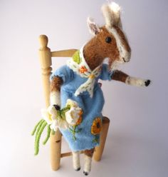 Original Animal Needle Felted Nanny Goat with door MissBumbles, $75.00