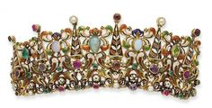 19TH CENTURY AUSTRO-HUNGARIAN NECKLACE AND TIARA HAIR-PIECE.consisting of white opal, emeralds, rubies, garnets, sapphires and pearls