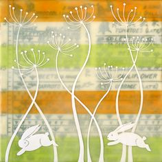 Garden Patch   Limited edition encaustic by bumblebellydesigns
