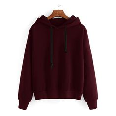 Burgundy Drop Shoulder Hooded Sweatshirt ($11) via Polyvore featuring tops, hoodies, sweatshirt, burgundy top, brown hoodie, burgundy hoodie, brown hooded sweatshirt and sweatshirt hoodies