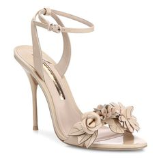 "lilico flower embellished leather sandals by Sophia Webster. Attractive flower applique uplifts these sandals. Self-covered stiletto heel, about 5"".Calf leather upper. Adjustable ankle strap. Leather lining and sole. Padded insole. Imported. Includes a dust bag. #sophiawebster #nudeshoes #sandals"