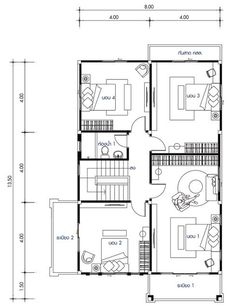 House design with 5 bedrooms - Home Ideassearch Home Building Design, Building Plans, Building A House, My House Plans, Small House Plans, Two Story House Design, Home Bedroom, Bedrooms, 2 Storey House