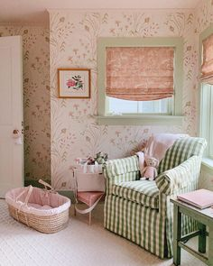 julia-engel-gal-meets-glam-nursery-green-white-gingham-buffalo-check-print-pink-floral - The Glam Pad Decor, Room, Interior Desig, Glam Nursery, Interior, Cute House, Home Decor, Girl Room, Southern Living