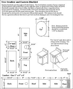 NPWRC :: Bird House Plans for Tree Swallow and Blue Bird