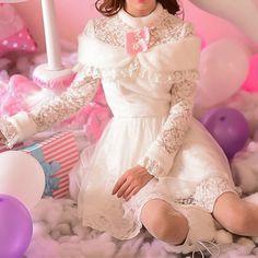 S/M/L Miss Snow Long Sleeve Lace Dress SP153628