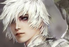 Image result for white haired anime elf male