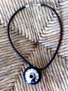 Necklace, silver and ebony
