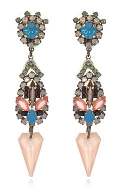 Erickson Beamon   Drop earring featuring a round-cut crystal in a two-tone rhinestone-encrusted setting at the stud, a multi-colored, multi-cut Swarovski crystal drop and a faceted Swarovski crystal spike drop charm
