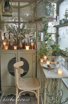 Pin by Herbalworld on ハーバルハウスの庭 in 2019 Pastel Room, Room Of One's Own, Porch Garden, Bohemian Interior, Green Rooms, Dream Home Design, Garden Spaces, Sweet Home, Dining Table