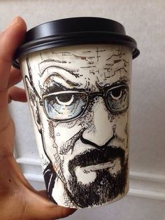 Paper Coffee Cup Art - Walter White from Breaking Bad more here: Illustrations, Illustration Art, Bad Fan Art, Disposable Coffee Cups, Coffee Cup Art, Posca Art, Inspiration Art, Arte Pop, Monochrom