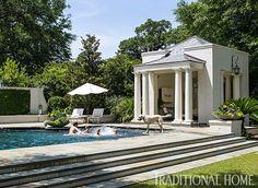 Cabana and pool in Charleston. Outdoor Rooms, Outdoor Living, Pool Cabana, Charleston Homes, Pool Landscaping, Backyard Pools, Pool Decks, Cool Pools, Pool Houses