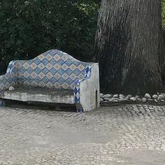 Quaint little corner...#old #blue #tiled #bench #worn #cobblestone #cascias #portugal