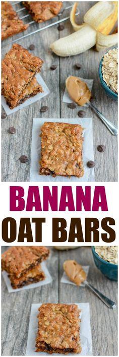 Easy Banana Oat Bars 8 Gluten Free Desserts, Gluten Free Recipes, Healthy Desserts, Healthy Recipes, Easy Banana Desserts, Healthy Oat Bars, Easy Recipes, Banana Recipes Easy, Weekly Recipes