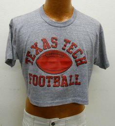 Vintage 80s Gray Crop Top Printed Texas Tech Football Shirt sz: XL (# 13389)