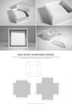 & DIELINES II: The Designer's Book of Packaging Dielines Box with Chamfered Insert – structural packaging design dielinesBox with Chamfered Insert – structural packaging design dielines Packaging Dielines, Box Packaging, Packaging Design, Paper Box Template, Box Templates, Fancy Jewellery, Chocolate Packaging, Diy Box, Jewelry Packaging